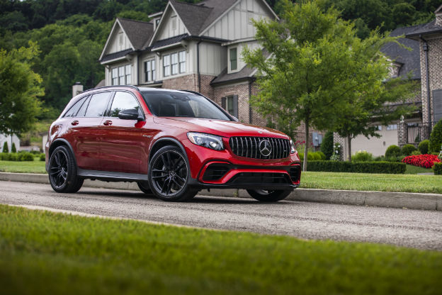side view of a red 2018 Mercedes-Benz GLC SUV