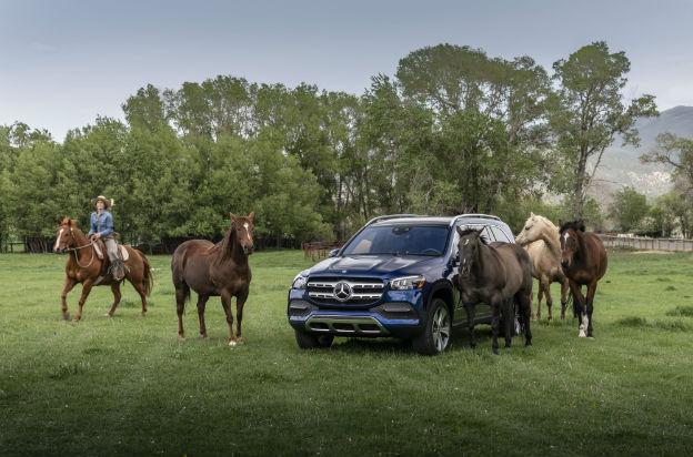 front view of a blue 2020 Mercedes-Benz GLS
