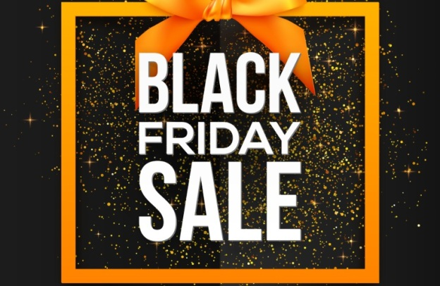 """A stylized present explodes with sparkles and reads, """"BLACK FRIDAY SALE"""" in white text."""