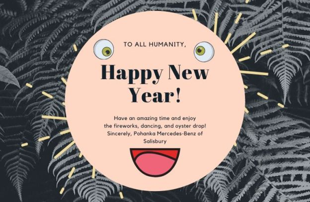 A grinning face is inscribed with a Happy New Year message from Pohanka Mercedes-Benz.