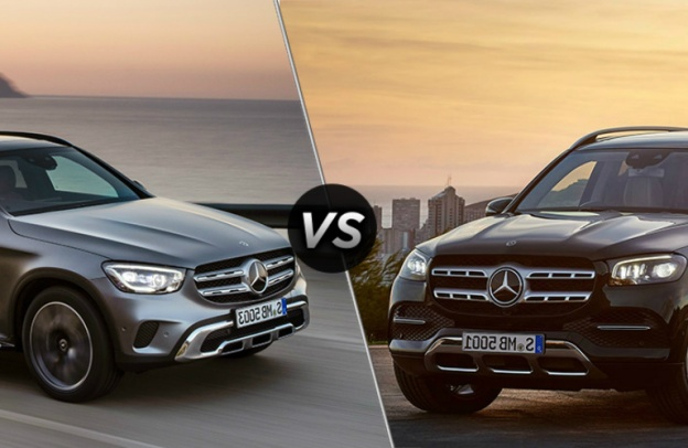 "Front ends of a 2020 Mercedes-Benz GLC and 2020 Mercedes-Benz GLS face each other, separated by a diagonal line and a ""VS"" logo."