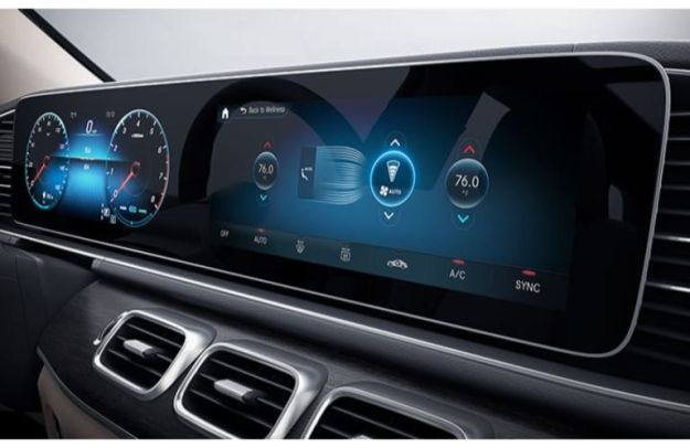 Close-up on a display screen inside a 2020 Mercedes-Benz GLS SUV
