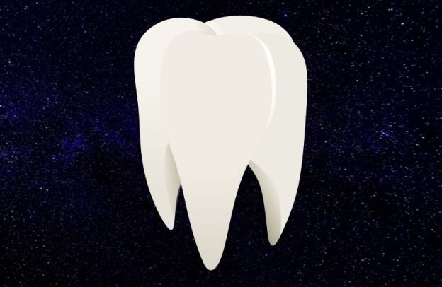 A giant tooth floats in space